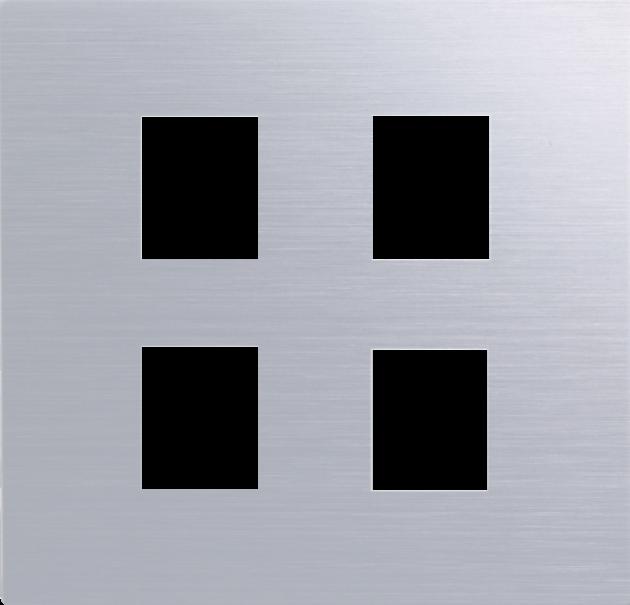 月光系列摩登銀/四孔蓋板組 1