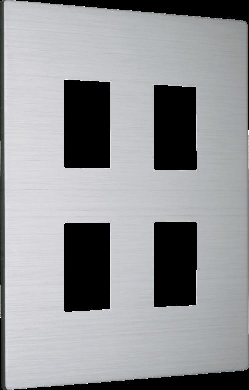 月光系列摩登銀/四孔蓋板組 2