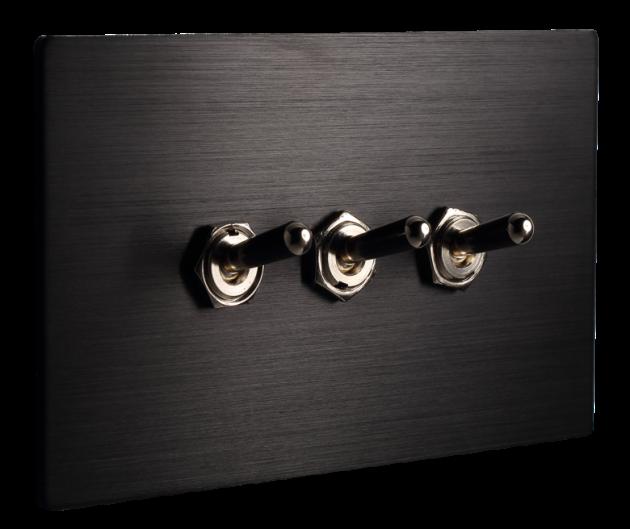 古典系列金屬黑/三開關蓋板組 2