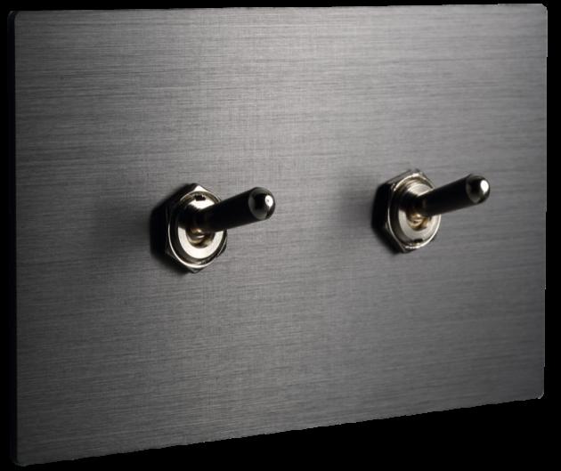 古典系列金屬灰/二開關蓋板組 2