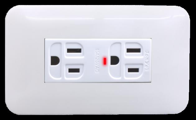 時尚基本款系列/LED接地雙插座蓋板組 1