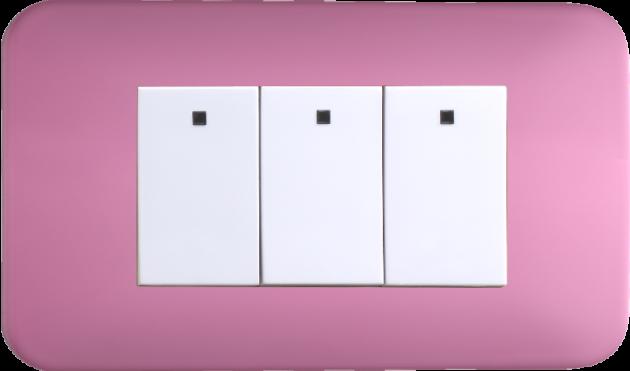 時尚馬卡龍系列蜜桃粉/三開關蓋板組 1