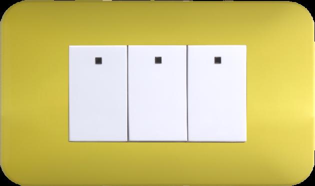 時尚馬卡龍系列檸檬黃/三開關蓋板組 1