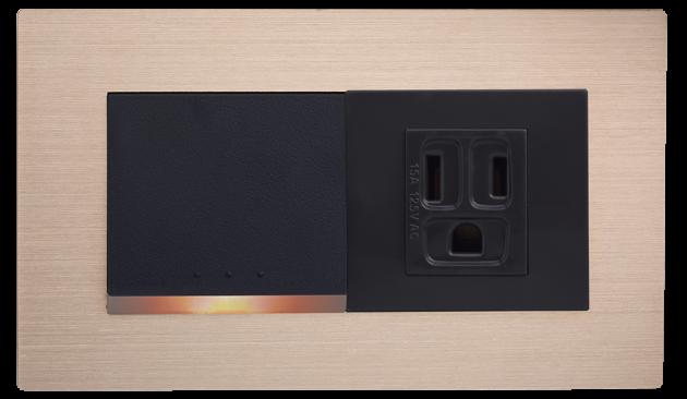 月光系列摩登金-一開關一接地單插座蓋板組 1